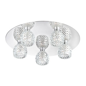Wave Chrome Five Light Flushmount with Clear Glass Shade