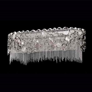 Cameo Nickel Four-Light Bath Fixture with Clear Crystal