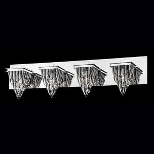 Wasaga Chrome Four-Light Bath Fixture with 3 Tones Metal Chain