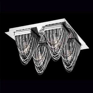 Wasaga Chrome Four-Light 13-Inch Wide Flush Mount with 3 Tones Metal Chain