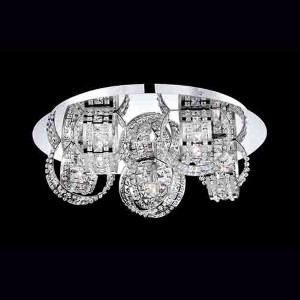 Yorkville Chrome Five-Light 18-Inch Wide Flush Mount with Clear Crystal