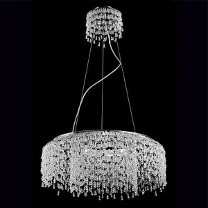 Fonte Chrome Eight-Light 23.5-Inch Rounch Chandelier with Clear Crystal