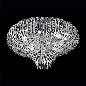 Monica Chrome Nine-Light 27-Inch Wide Flush Mount with Clear Crystal