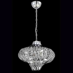 Monica Chrome Six-Light 19.5-Inch Wide Chandelier with Clear Crystal