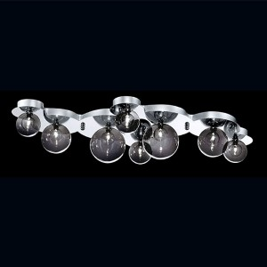 Grappa Chrome Eight-Light 15-Inch Wide Flush Mount with Smoke and Clear Glass