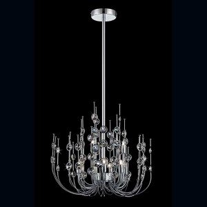 Vice Chrome Nine-Light 20-Inch Wide Chandelier with Clear Crystal