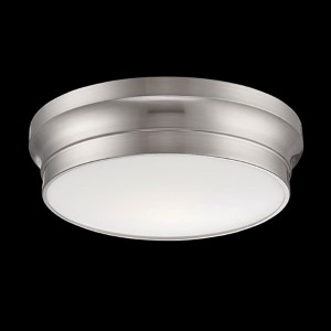Jane Satin Nickel 12-Inch Wide LED Flush Mount with Opal White Glass