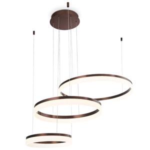 Minuta Bronze LED Three-Ring Pendant