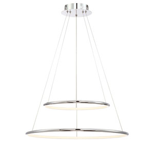 Valley Chrome 24-Inch LED Two-Ring Pendant