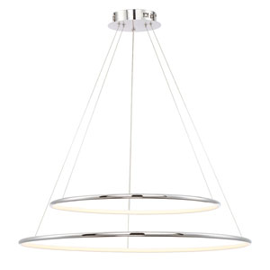 Valley Chrome 32-Inch LED Two-Ring Pendant