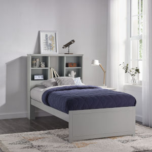 Caspian Gray Twin 42-Inch Bookcase Bed