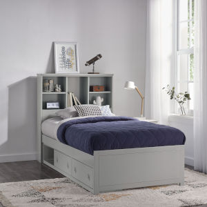 Caspian Gray Twin Bookcase Bed