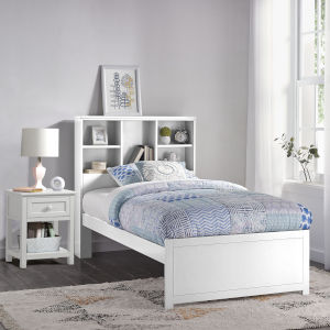 Caspian White Twin Bookcase Bed