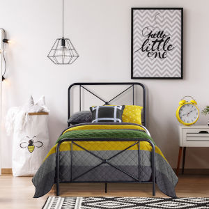 Williamsburg Black 40-Inch Metal Twin Bed with Decorative Double X Design