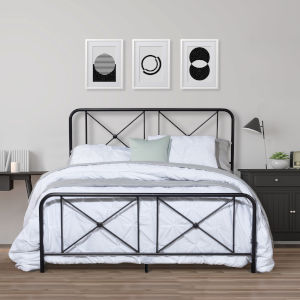 Williamsburg Black 63-Inch Metal Queen Bed with Decorative Double X Design