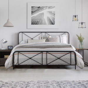 Williamsburg Black 78-Inch Metal King Bed with Decorative Double X Design