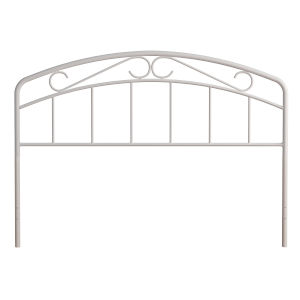 Jolie White 61-Inch Metal Headboard with Arched Scroll Design