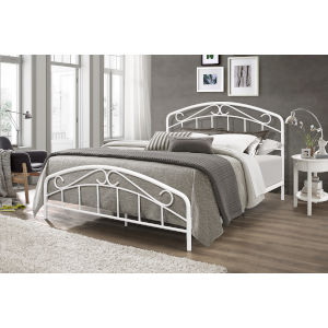 Jolie Textured White 63-Inch Metal Queen Bed with Arched Scroll Design