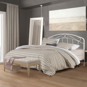 Jolie White 61-Inch Metal Headboard with Arched Scroll Design and Frame