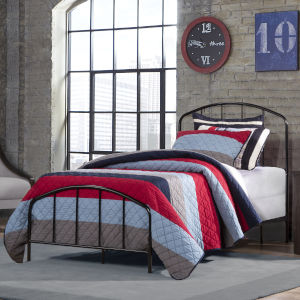 Tolland Black 41-Inch Metal Twin Bed with Arched Spindle Design
