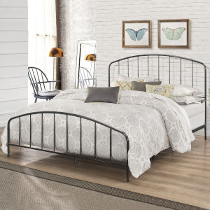 Tolland Black 62-Inch Metal Queen Bed with Arched Spindle Design