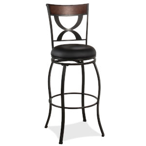 Stockport Pewter Finished Metal and Brown Bar Height Stool
