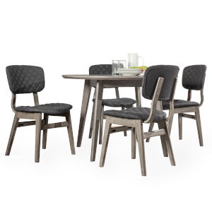 Alden Bay Weathered Gray 45-Inch Round Dining Table With 4 Upholstered Dining Chiar