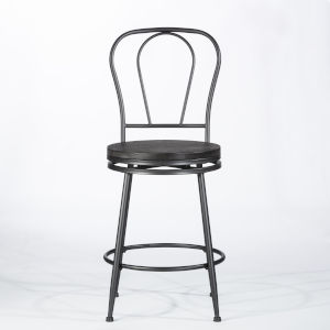 Melange Dark Gray Wire Brush Wood 3-Piece Counter Height Bistro Set with Upholstered Swivel Stools