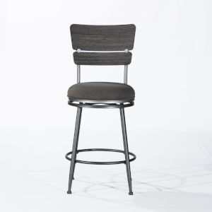 Melange Dark Gray Wire Brush Wood 3-Piece Counter Height Bistro Set with Wood Back Swivel Stools