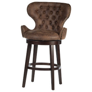 Mid City Smoke Chocolate 45-Inch Upholstered Swivel Bar Height Stool