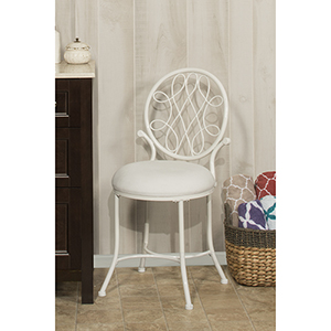 O-Malley White Vanity Stool
