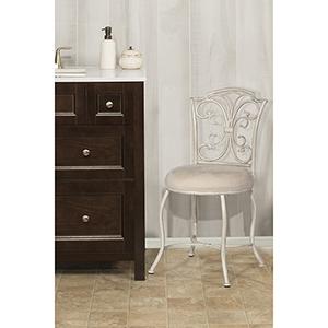 Sparta White with Gold Rub Vanity stool