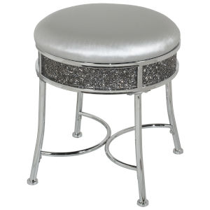 Roma Chrome 16-Inch Vanity Stool