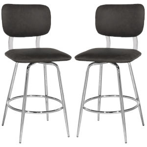 Bloomfield Chrome 38-Inch Metal Upholstered Seat Swivel Counter Height Stool, Set of 2