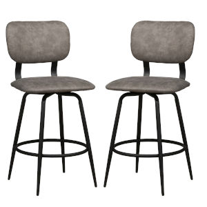 Bloomfield Matte Black 38-Inch Metal Upholstered Seat and Back Swivel Counter Height Stool, Set of 2