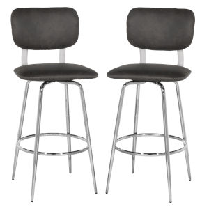 Bloomfield Chrome 42-Inch Metal Upholstered Seat and Back Swivel Bar Height Stool, Set of 2