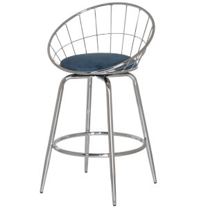 Bullock Teal Blue Velvet 35-Inch Rounded Disc Metal Swivel Counter Height Stool