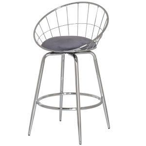 Bullock Silver Blue Velvet 35-Inch Rounded Disc Metal Swivel Counter Height Stool