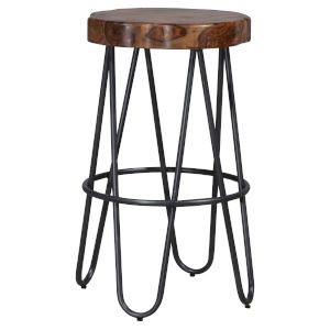 Pembra Natural and Gray 30-Inch Bar Height Stool