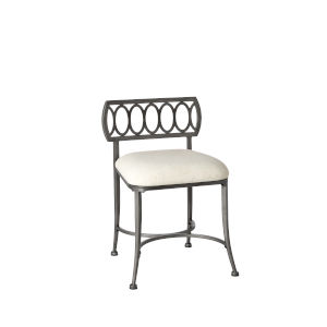 Canal Street Pewter And Cream 17-Inch Vanity Stool