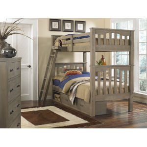 Highlands Driftwood Full Bunk With 2 Storage Unit And Hanging Nightstand