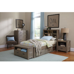 Highlands Driftwood Twin Bookcase Bed With 2 Storage Unit