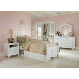 Lake House White Twin Arch Bed With Storage