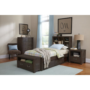 Highlands Espresso Twin Bookcase Bed With 2 Storage
