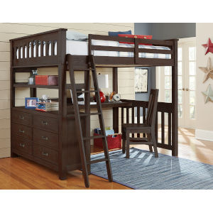 Highlands Espresso Full Loft Bed With Desk And Chair