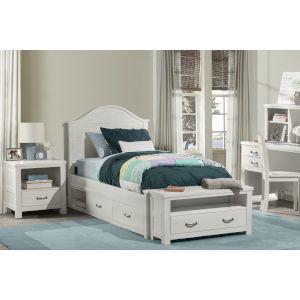Highlands White Twin Arch Bed With Storage Unit