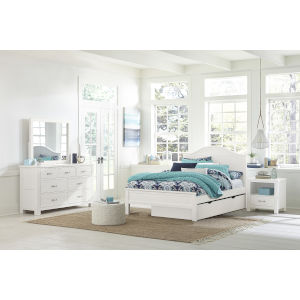Highlands White Full Arch Bed With Trundle