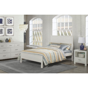 Highlands White Twin Flat Panel Bed