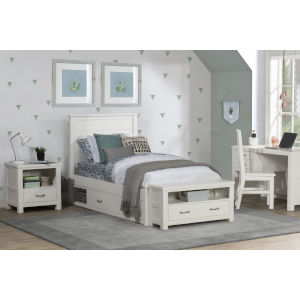 Highlands White Twin Flat Panel Bed With 2 Storage Unit