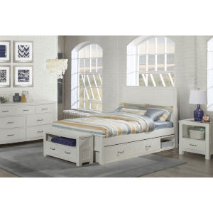 Highlands White Full Flate Panel Bed With Storage Unit